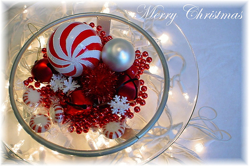 Merry Christmas with red ornaments